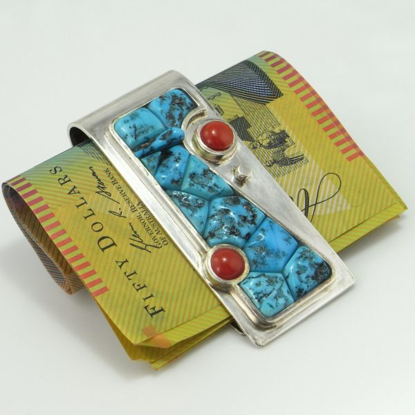 Coral Turquoise Money Clip Jewelry Silver Mens Accessories Vintage Body Tie