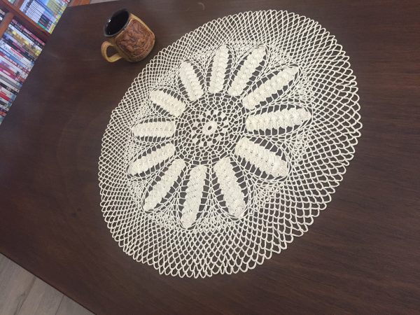 Cream Crochet Table Centrepiece With Wheat Ears Pattern