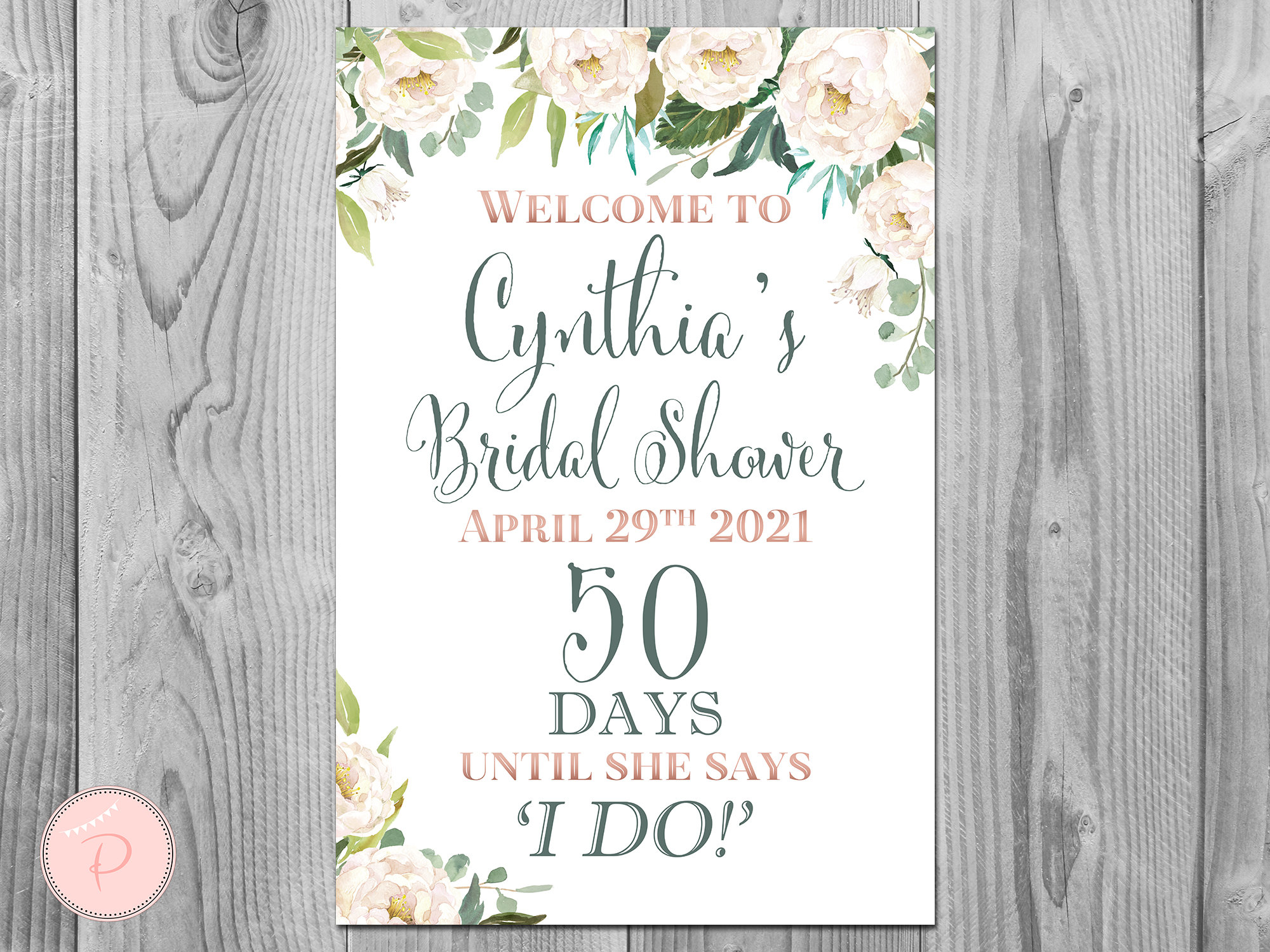 Cream Floral Garden Personalized Welcome Wedding Sign, Wedding Sign Decoration, Printable Sign Diy Print Th61 Ws38