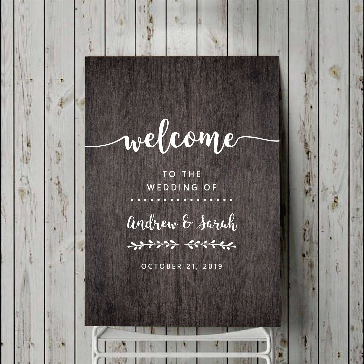 Custom Wedding Sign Decal Signage Welcome Sticker For Board Personalised Decor White Vinyl Names