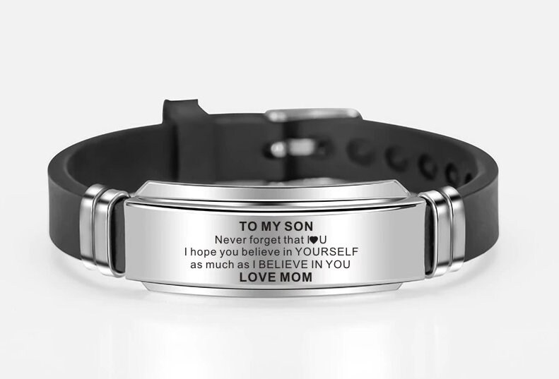 Customized Your Own Message To Son Bracelet Wristband Gift From For Son Christmas Birthday Xmas Wedding Uni School College Graduation