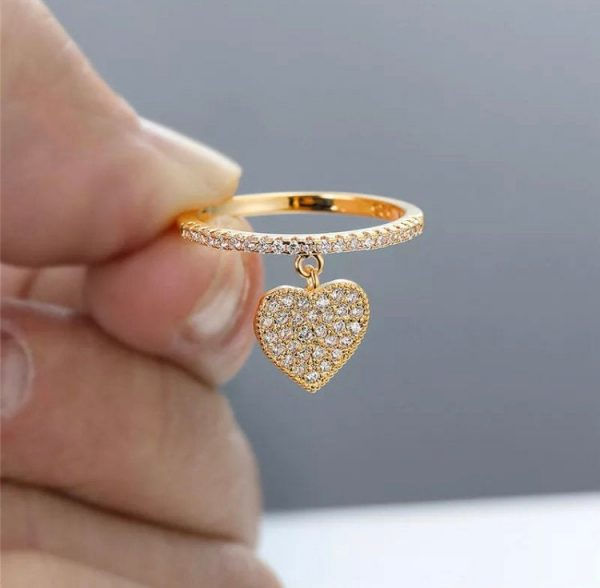 Cute Heart Pendant White Zircon Rings For Women Gold/Silver/Rose Gold Engagement Promise Ring Female Wedding Jewelry