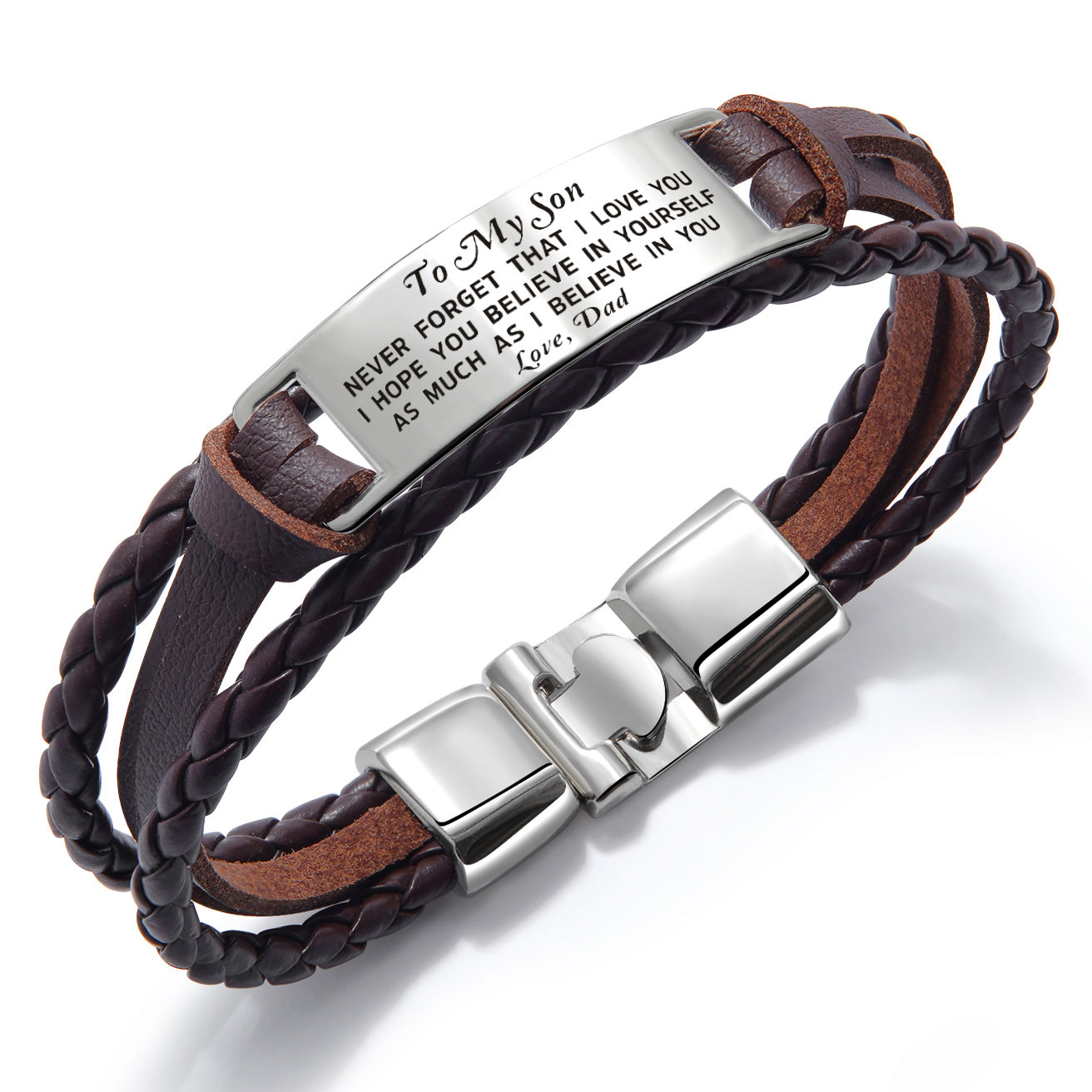Dad To Son Bracelet Wristband Gift From Dad Men Jewelry Love Son For Christmas Birthday Xmas College Military Graduation Wedding