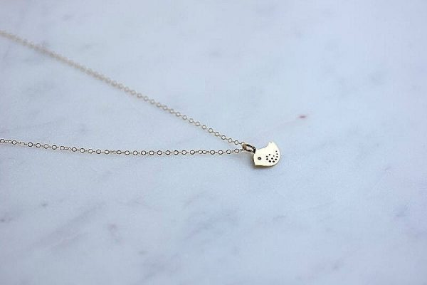 Dainty Bird Charm Necklace , Tiny Necklace, Jewelry, Small Gold Necklace, Wedding Gift For Her, Girlfriend