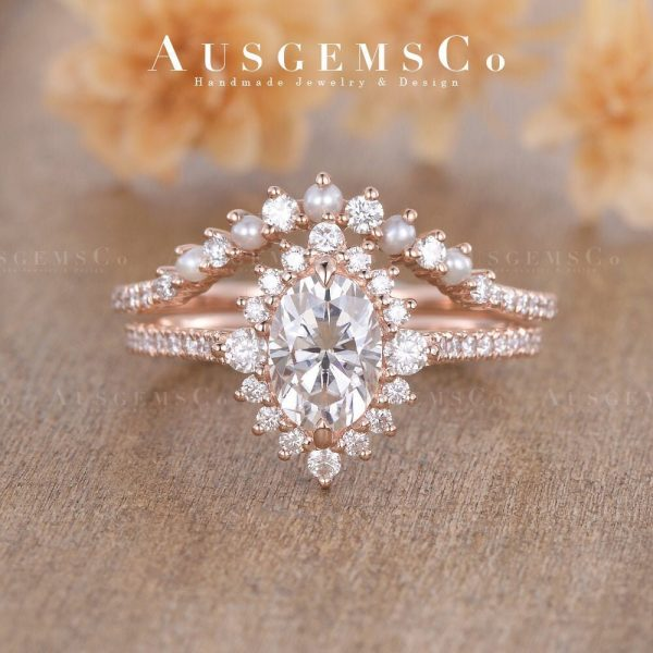 Dainty Pearl Moissanite Engagement Ring Set Rose Gold Bridal 2 Rings Curved Diamond Wedding Halo Eternity Unique