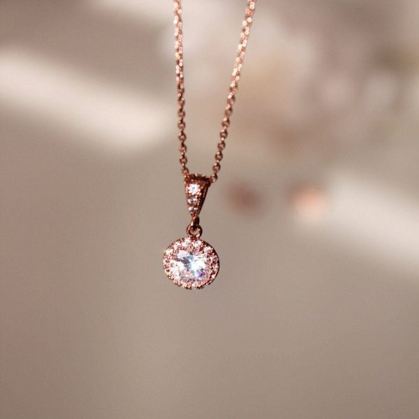 Dainty Rose Gold Necklace Petite Bridesmaid Silver Delicate For Women Wedding Gift N101