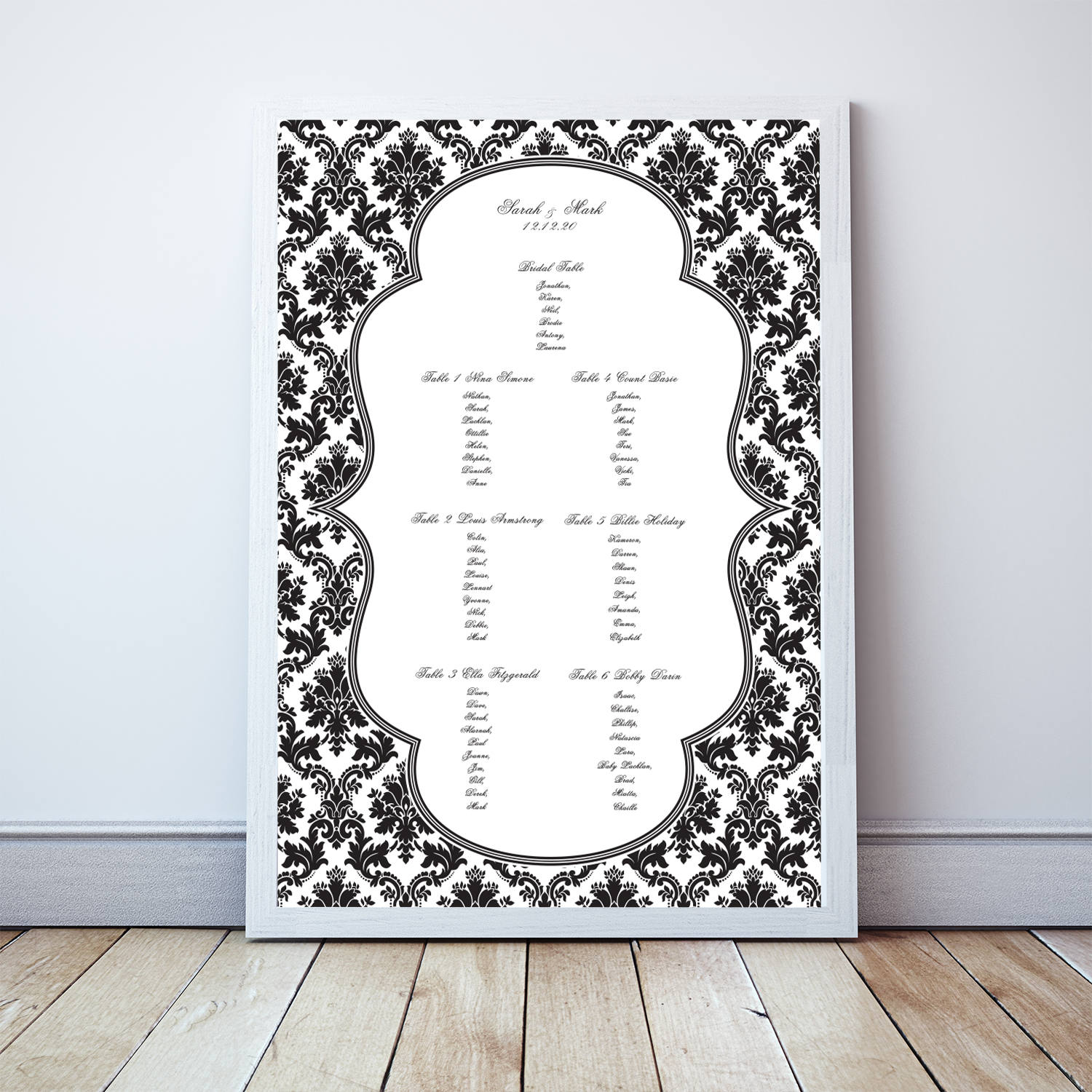 Damask Wedding Seating Chart - Printable File Traditional Plan Classic Elegant Black & White Customised Table Assignment
