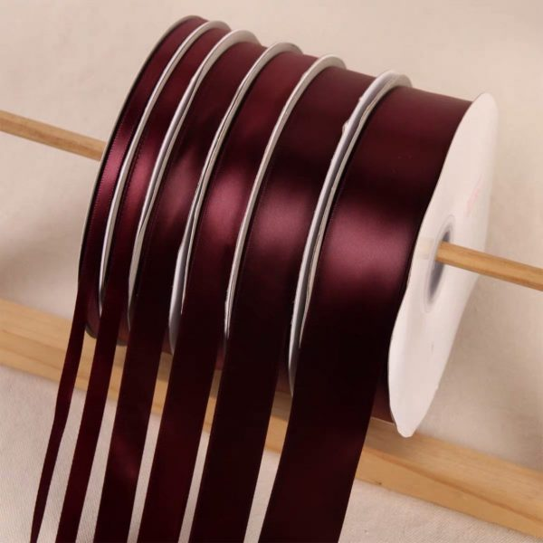 Dark Burgundy Satin Ribbon Roll Wholesale Christmas Gift Wrapping Wedding Party Favors Chair Decorations Tags Box Ribbons