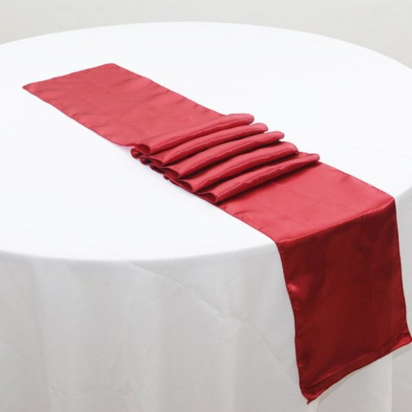 Dark Red Satin Table Runners Wedding Banquet Ceremony Feast Birthday Anniversary Sheer Sashes Party Events Venue Dining Decorations