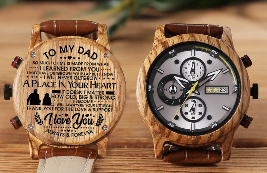 Daughter Son To Dad Watch Gift We Love You From Wooden Men Birthday Wedding Christmas Father's Day