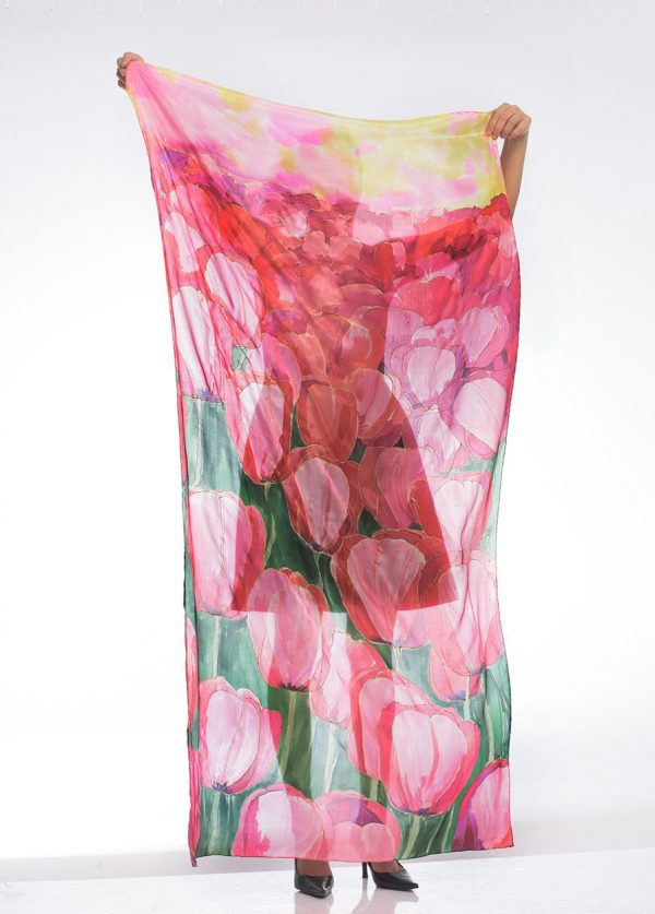 Designer Scarf - Tulips Fields, Hand Painted Silk Scarf, Luxury Floral Scarves, Romantic Wedding, Bridal Shawl, Unique Handmade Gifts