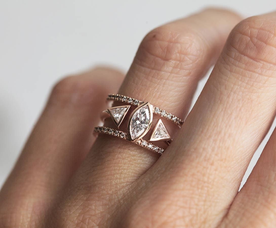 Diamond Engagement Ring Set, Wedding Marquise With Trillion Band, Double Capucinne
