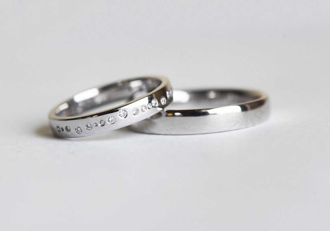Diamond Wedding Ring Set For Him & Her in 14K Or 18K Solid Gold
