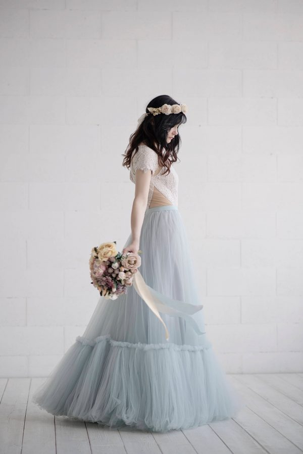 Dolores - Bridal Skirt/Wedding Tulle Dusty Blue Rustic Bohemian Separates