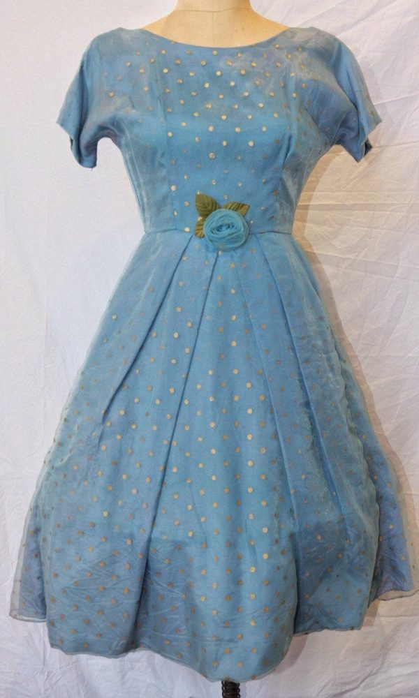 Dress, Rare Vintage 50's Party Dress For Wedding/Prom, Pale Blue, Hooped, Tailor Made, Made in N.z. Gold Polka Dots