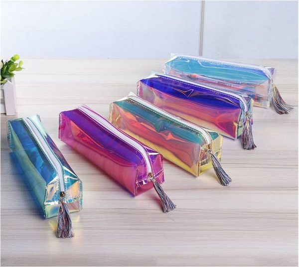 E Personalised/Customised Custom Made Holographic Pvc Clear Plastic Pencil Case - Cosmetic Make Up Tool Bag Bridal Gift Wedding