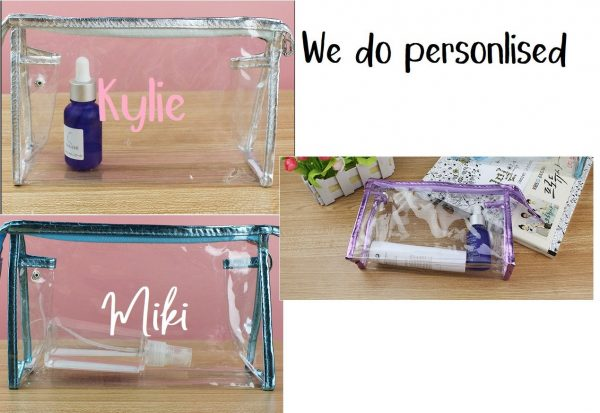 E - Personalised/Customised Travel Pvc Clear Plastic Makeup Bag Cosmetic Tool Bridal Gift Wedding Shower