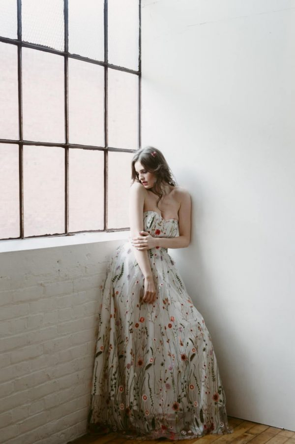 Embroidered Gown, Floral Wedding Dress, Embroidered Prom Spring Dress