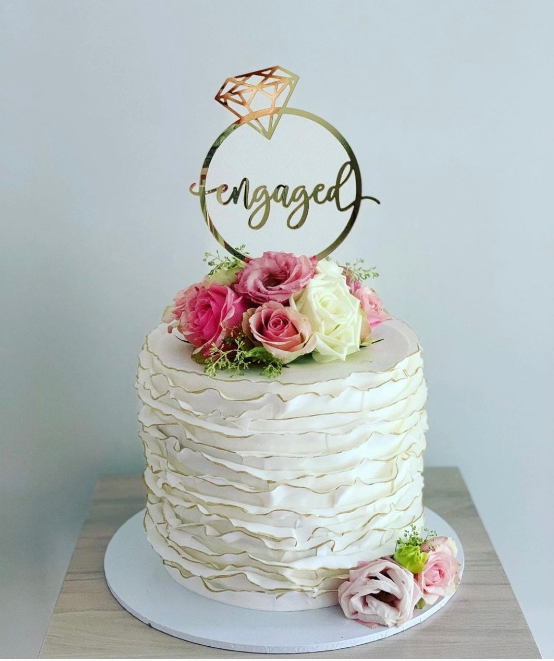 Engaged With Diamond Ring Cake Topper Engagement