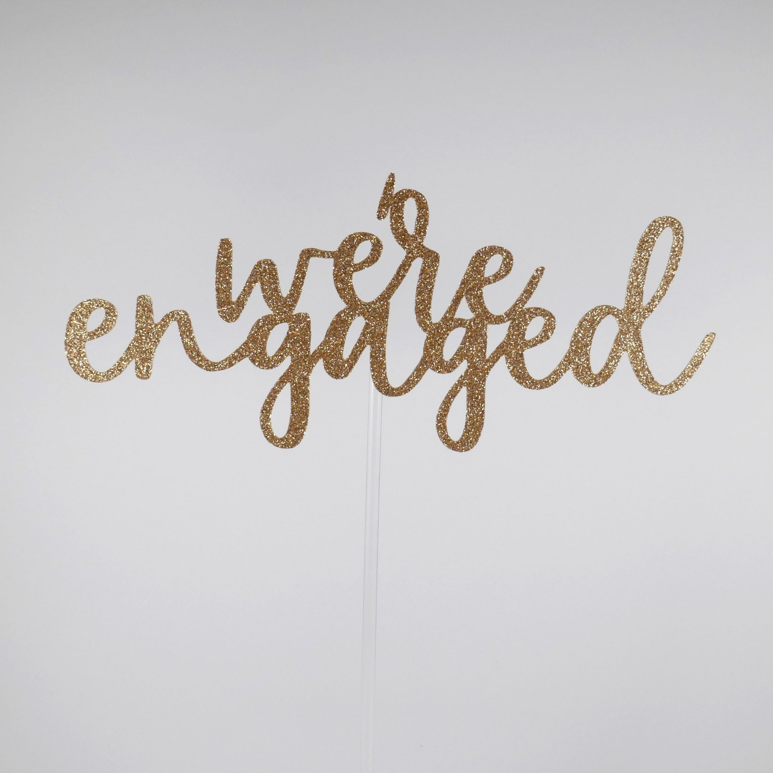 Engagement Cake Topper, We're Engaged Getting Married Topper
