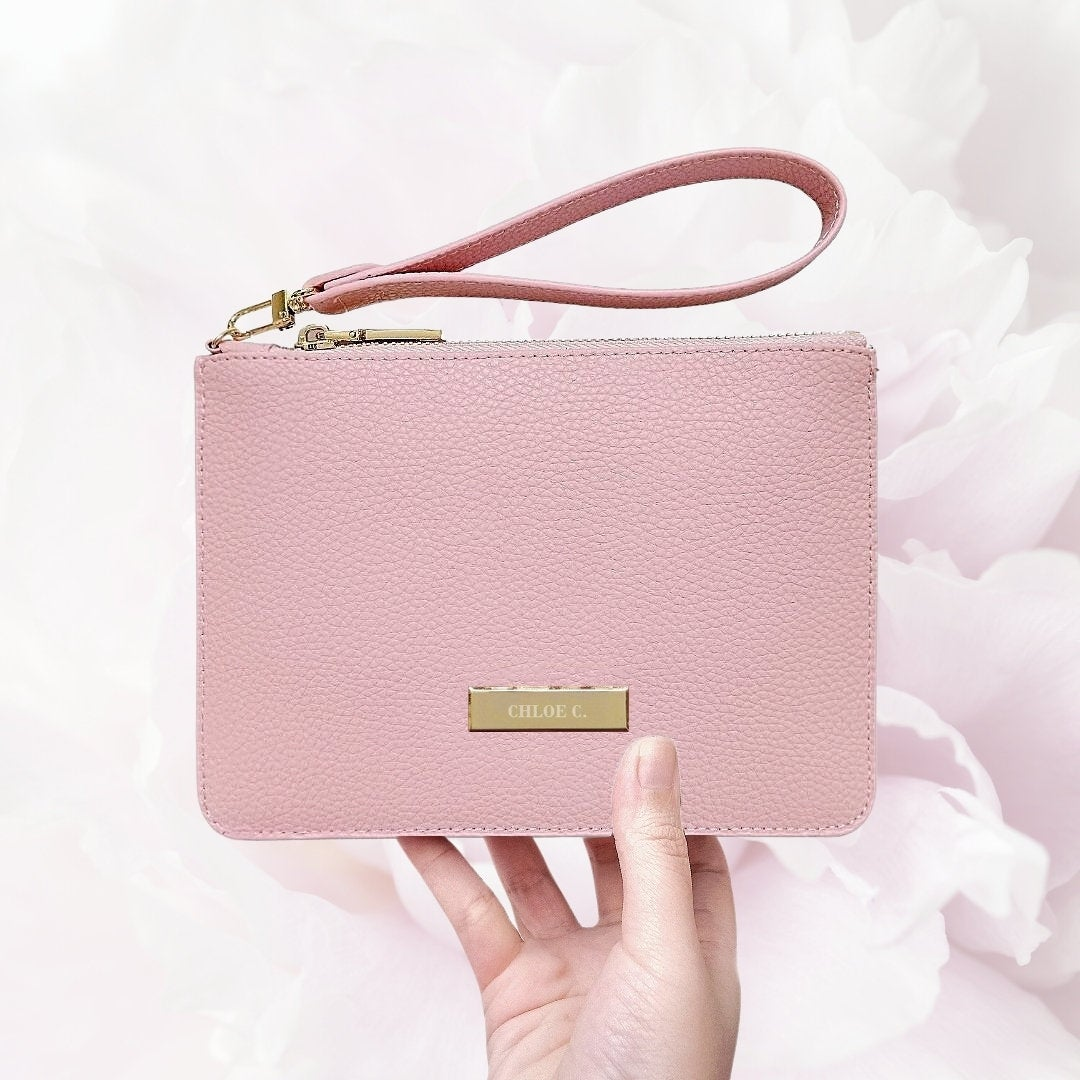 Engraved Personalized Pouch Wallet, Pink Pouch, Leather Wristlet Clutch, Pouch, Bride Clutch Bag, Bridesmaid Wedding Bag