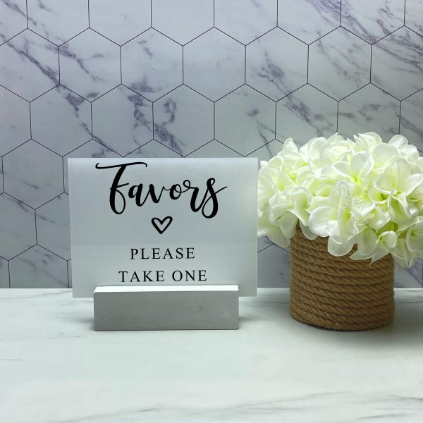 Favors, Please Take One Acrylic Sign, Wedding Event Menu, Bar List Guestbook Sign