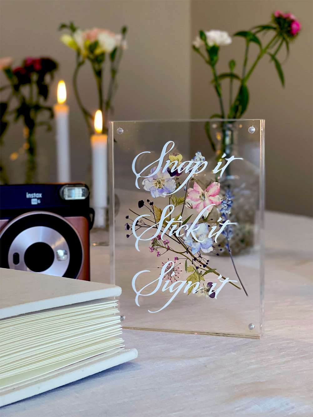 Floral Acrylic Polaroid Photo Guestbook Sign   Wedding Bridal Shower Baby Events