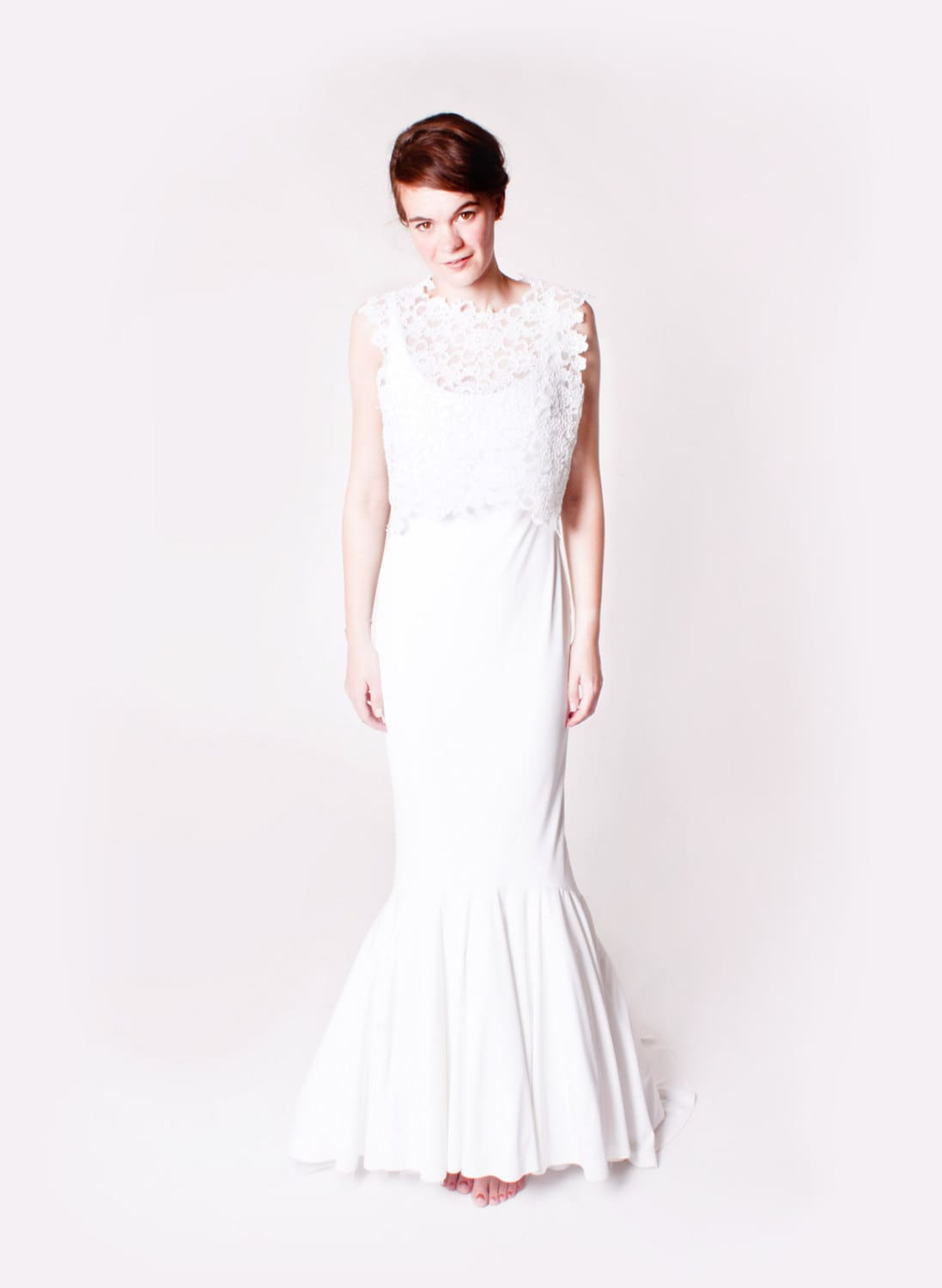 Floral White Corded Lace Wedding Top