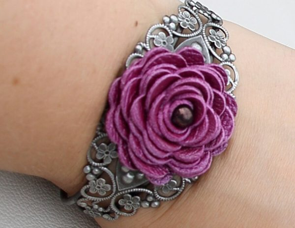 Flower Leather Bracelet Floral Cuff Purple Jewelry Wedding Mixed Media Silver Metal Lace Prom