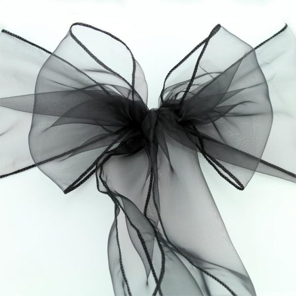 From 25Pcs Black Organza Chair Sashes Sheer Bow Ties Ribbon Wedding Engagement Birthday Party Reception Ceremony Home Decoration