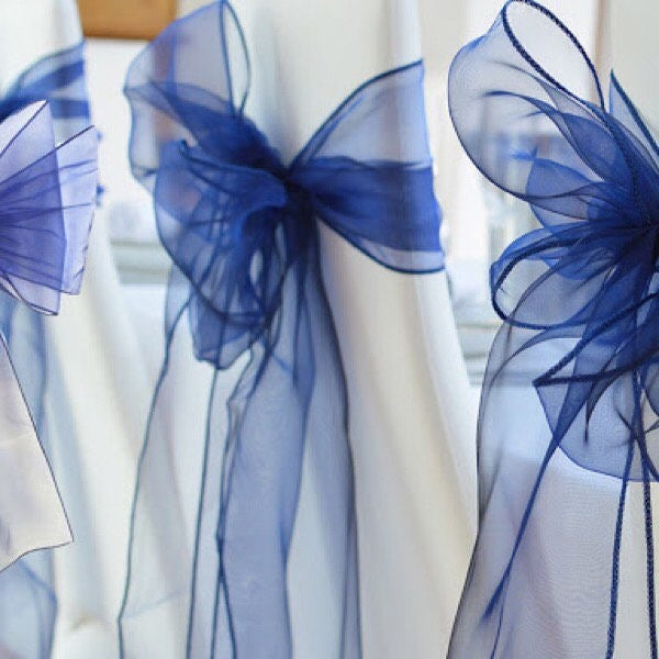 From 25Pcs Navy Blue Organza Chair Sashes Table Runners Bow Ties Ribbon Wedding Party Reception Bouquet 21st Birthday Decoration