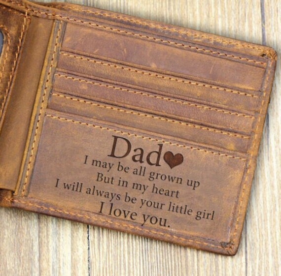 From Daughter To Dad Wallet Gift Leather Men Purse Love Message Birthday Xmas Wedding Anniversary Christmas Father's Day