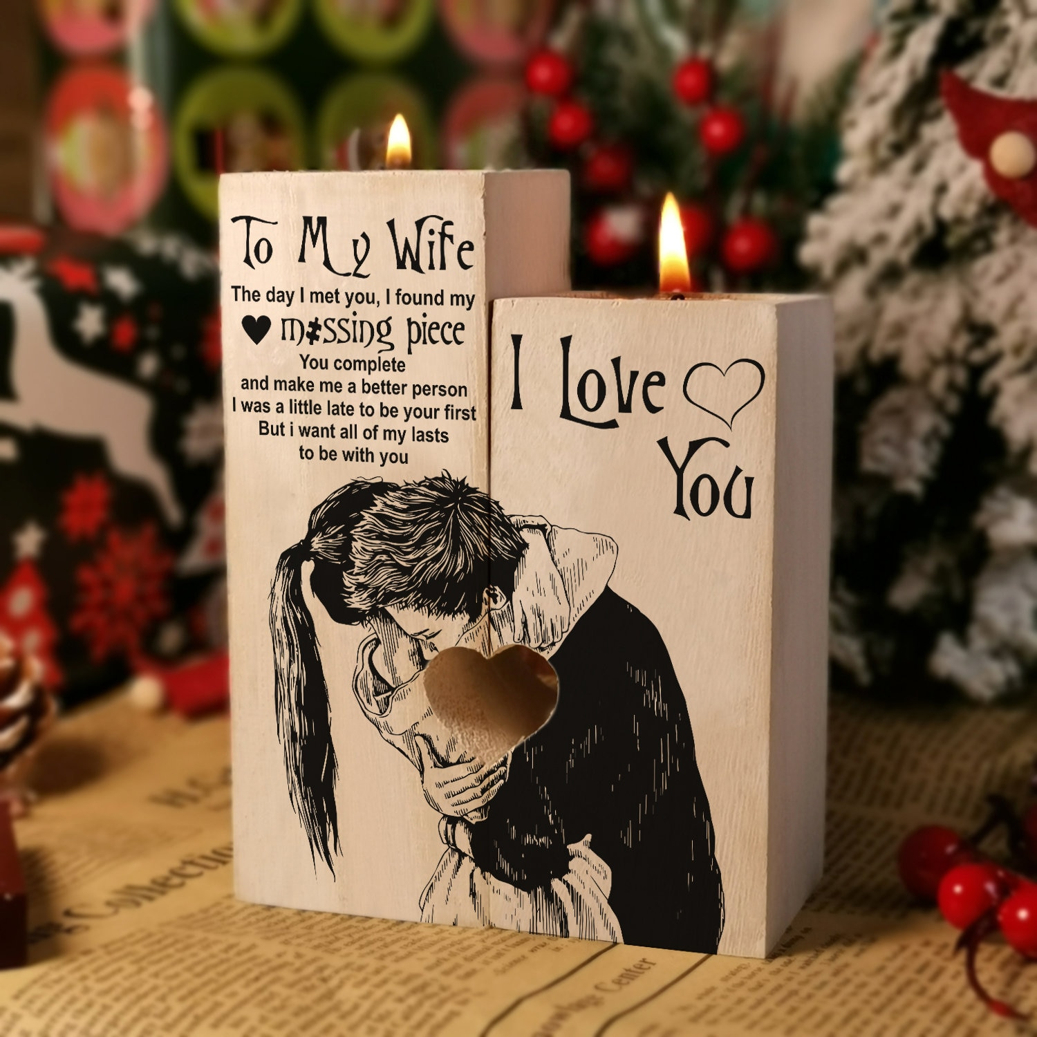 From Husband To Wife Candle Holder Gift I Love You For Xmas Valentine Mother's Day Birthday Wedding Anniversary Christmas