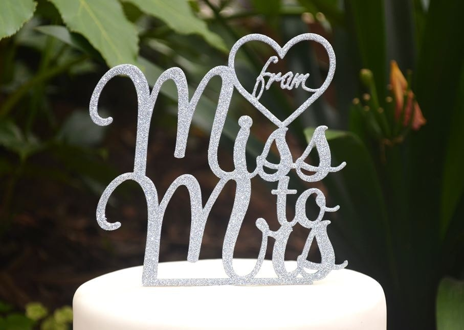 From Miss To Mrs Wedding Engagement Cake Topper - Bride & Groom Bridal Shower Kitchen Tea Party