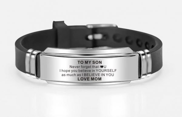 From Mom To Son Wristband Bracelet Jewelry Gift Love Mother For Birthday Christmas Wedding High School College Graduation Gifts