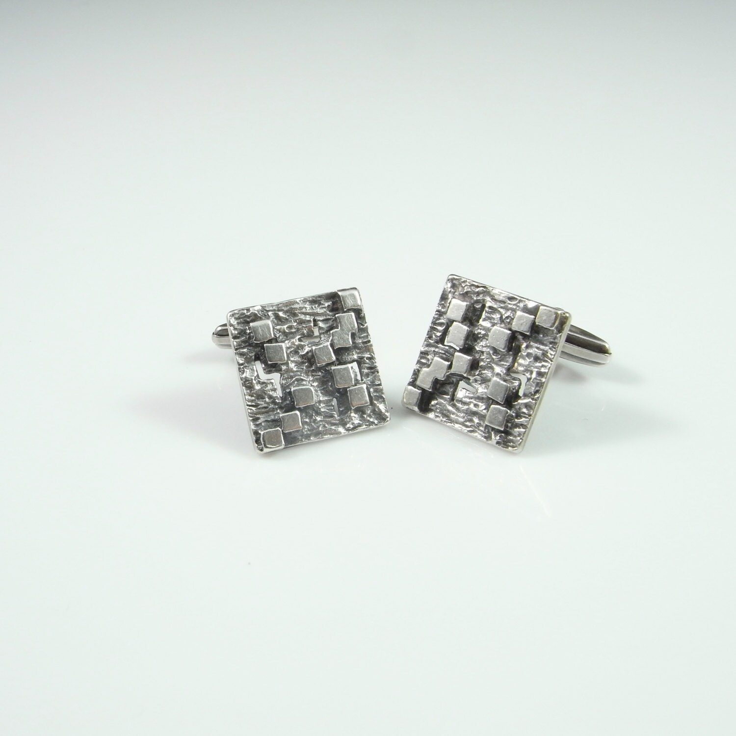 Funky Retro Wedding Fine Silver Unique Cuff Links Grooms Accessories 1950S Modernist Jewelry Gift For Fiance Birthday Bridal One Of A Kind