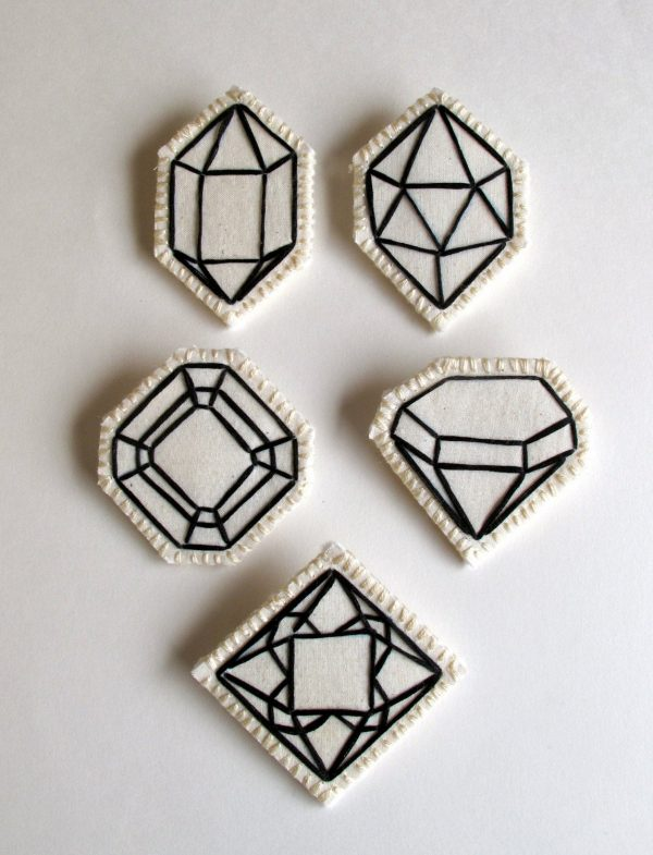 Geometric Brooch Hand Embroidered Faux Gem Outlined in Black Choose One Wedding Favors Diamond Jewelry April Birthstone