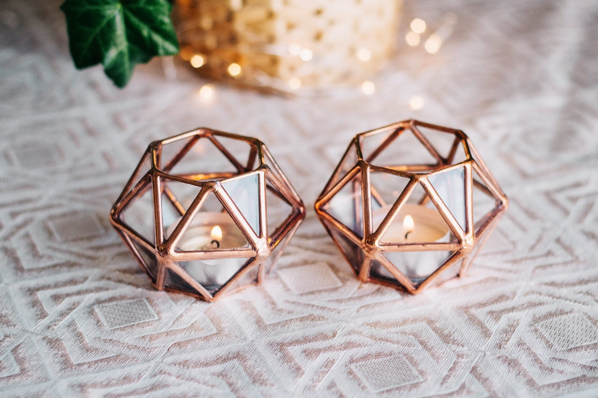 Geometric Glass Tealight Candle Holder | Set Of 2 Copper Wedding Decor Thanksgiving & Christmas Table