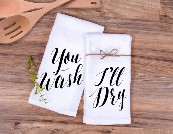 """Gift For Couples Kitchen Towel Set You Wash, I'll Dry Wedding Or Bridal Shower Her Anniversary Ideas   Item - Twd500"""""""