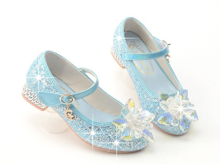 Girls Glitter Heel Shoes, Princess Sequin Sparkly Bling Shoes Rhinestone Children Dress Up Costume Cosplay