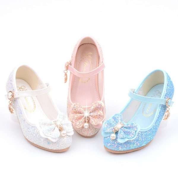 Girls Glitter Heel Shoes, Princess Sequin Sparkly Bling Shoes Rhinestone Toddler Butterfly Costume Cosplay