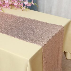 Glitter Sequin Rose Gold Table Runners Engagement Wedding Banquet Ceremony Birthday Anniversary Sparkle Party Xmas Dining Decoration
