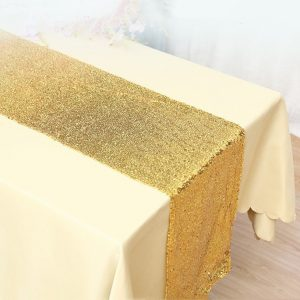 Glitter Sequin Yellow Gold Table Runners Engagement Wedding Banquet Ceremony Feast Birthday Anniversary Sparkling Party Dining Decor