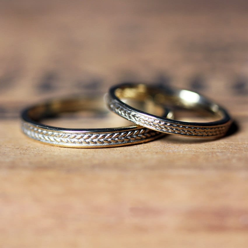 Gold Braided Ring, Wedding Band Set Gold, Wheat Recycled Gold Band, 14K Ring His & Her Custom