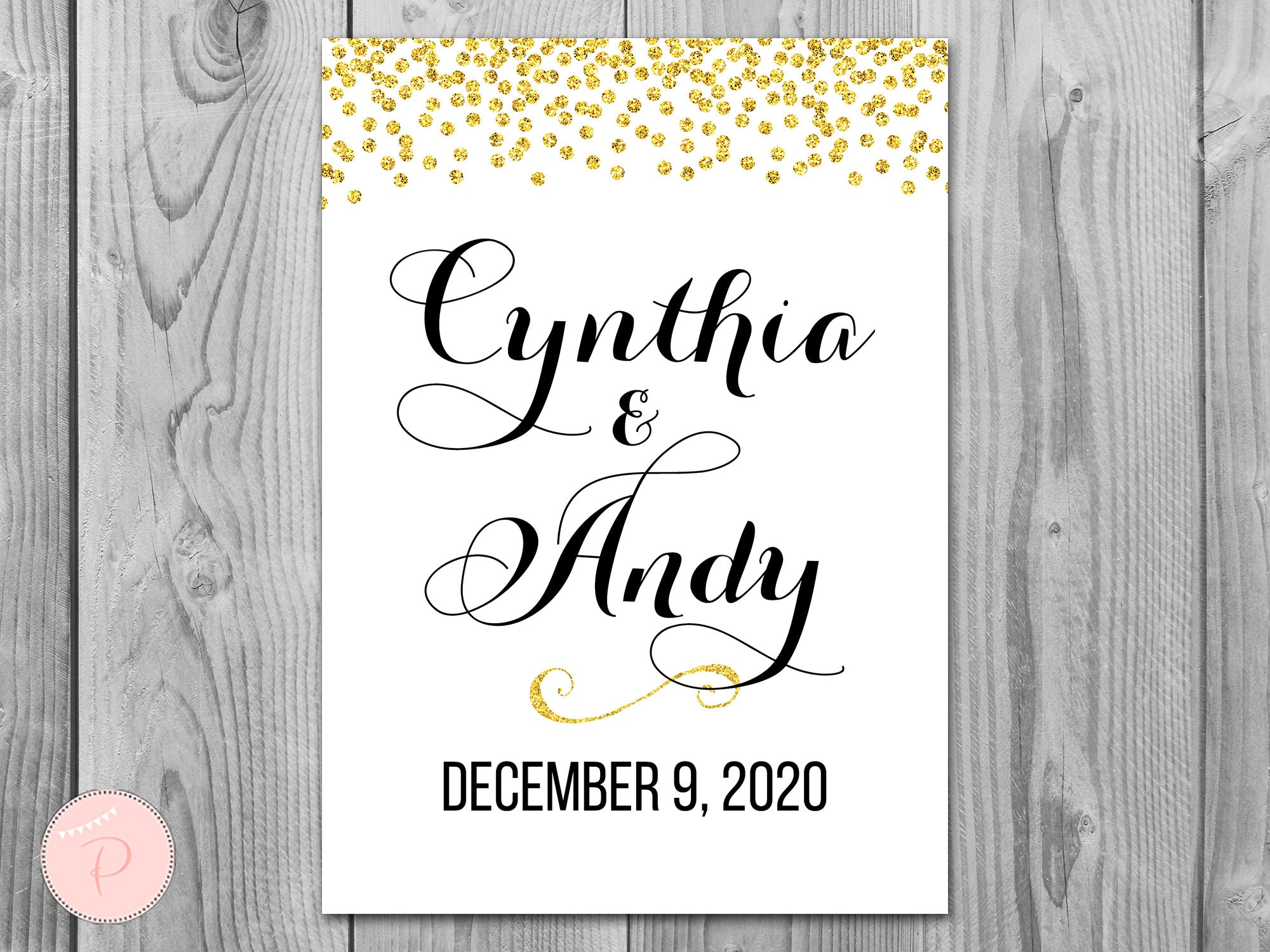 Gold Confetti Welcome Sign, Engagement Sign, Wedding Personalized Wedding Wd47 Th22