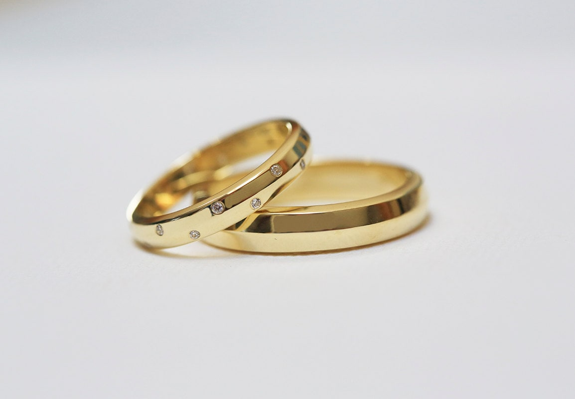 Gold Diamond Wedding Ring Set For Her & Him in 14K Or 18K Gold, 3mm & 4mm Wide Bands, Anniversary Rings