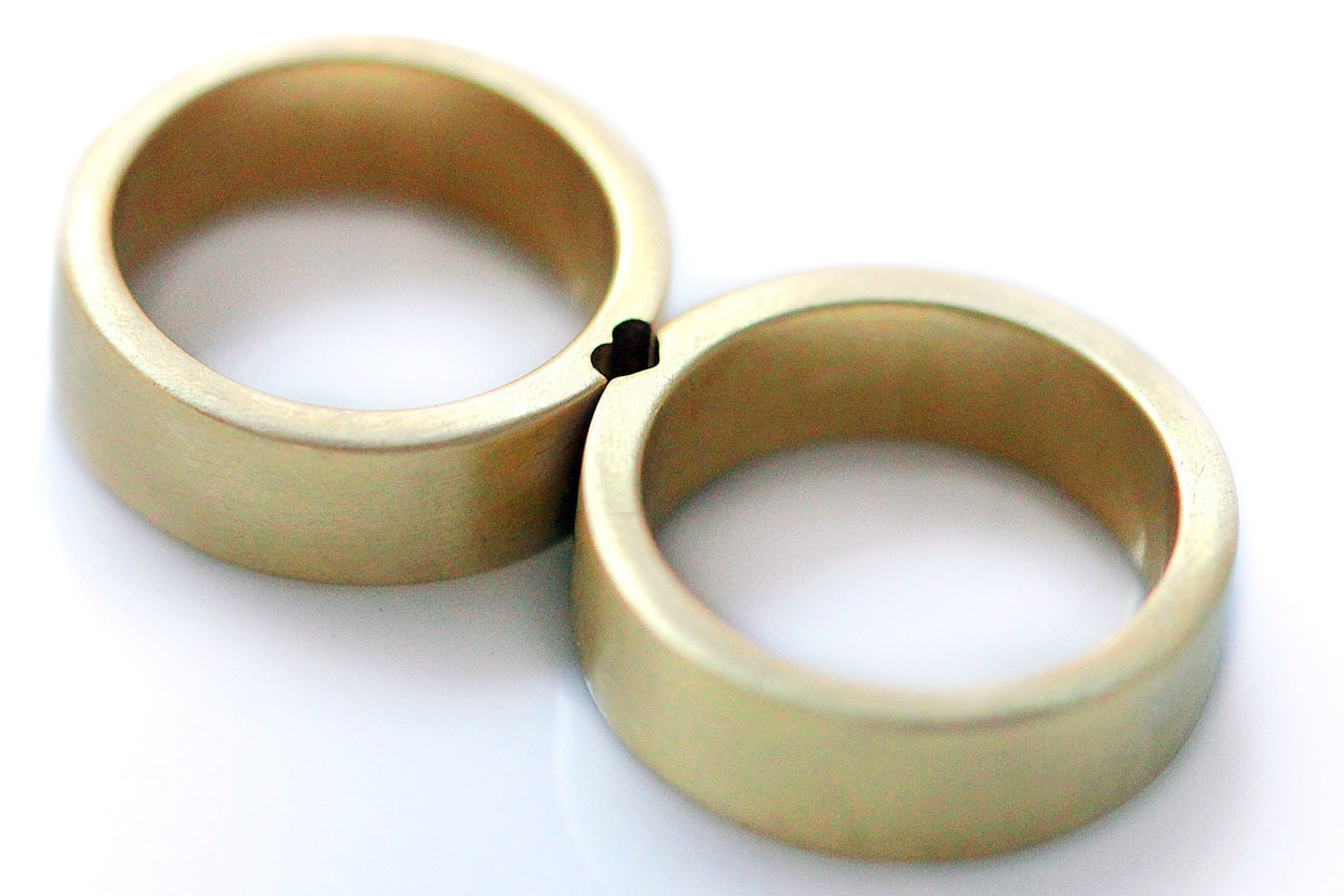 Gold Heart Rings, Mens Wedding Band, Ring Set, Couples Ring, Matching Anniversary For Couple, Cadi