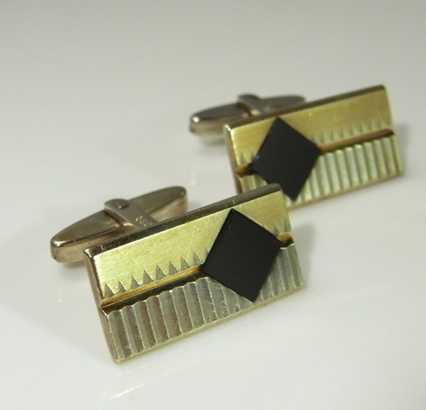 Gold Plated Silver Onyx Rectangle Geometric Squares Unique Mens Vintage Cuff Links Cufflinks Gifts Accessories Groom Fathers Day Wedding
