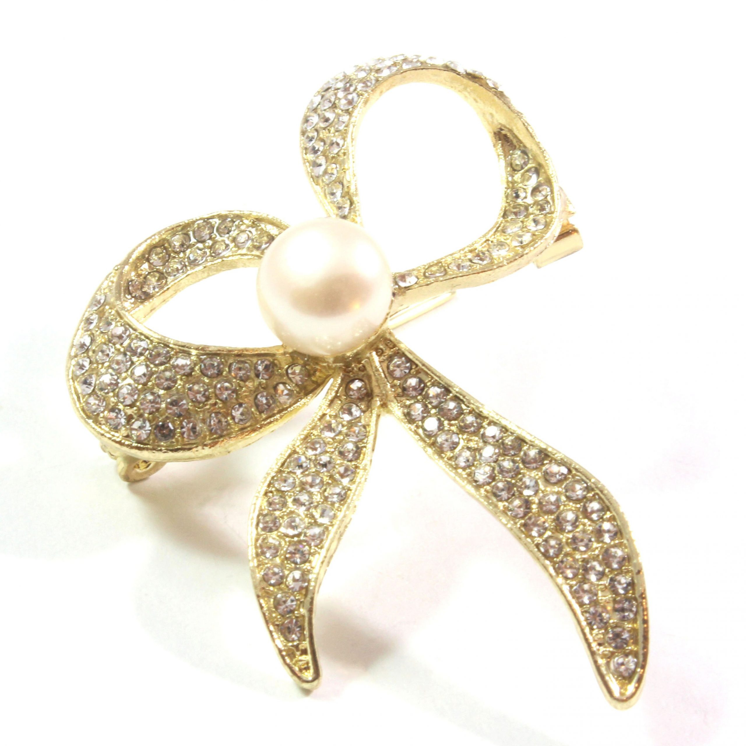 Gold Ribbon White Freshwater Cultured Pearl Brooch 9.5-10.0mm