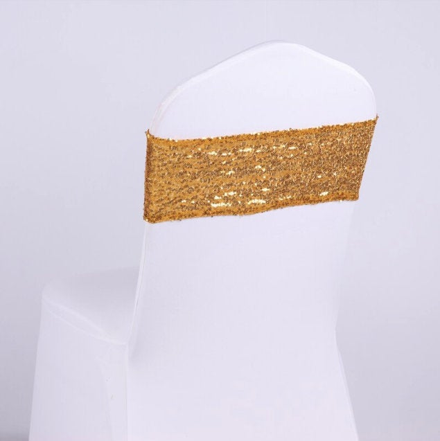 Gold Rose Silver Glitter Full Sequin Chair Bands Spandex Sashes Elastic Bow Ribbon Wedding Engagement Birthday Party Decor